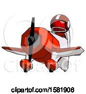 Red Football Player Man Flying In Geebee Stunt Plane Viewed From Below
