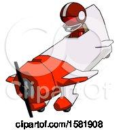 Red Football Player Man In Geebee Stunt Plane Descending View