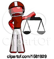 Red Football Player Man Holding Scales Of Justice
