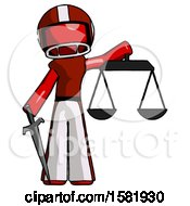 Red Football Player Man Justice Concept With Scales And Sword Justicia Derived