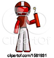 Red Football Player Man Holding Dynamite With Fuse Lit