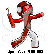 Red Football Player Man Throwing Dynamite