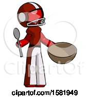 Red Football Player Man With Empty Bowl And Spoon Ready To Make Something
