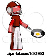 Red Football Player Man Frying Egg In Pan Or Wok Facing Right
