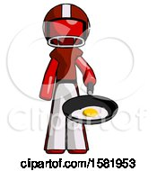 Poster, Art Print Of Red Football Player Man Frying Egg In Pan Or Wok