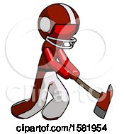 Red Football Player Man Striking With A Red Firefighters Ax