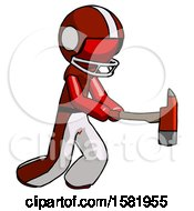 Red Football Player Man With Ax Hitting Striking Or Chopping