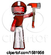 Red Football Player Man Holding Up Red Firefighters Ax
