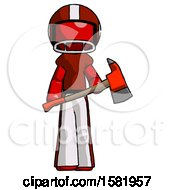 Red Football Player Man Holding Red Fire Fighters Ax