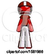 Red Football Player Man Standing Facing Forward