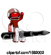 Red Football Player Man Riding A Pen Like A Giant Rocket