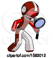 Red Football Player Man Inspecting With Large Magnifying Glass Right