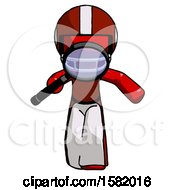 Red Football Player Man Looking Down Through Magnifying Glass