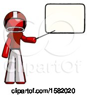 Red Football Player Man Giving Presentation In Front Of Dry Erase Board