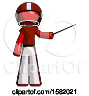 Red Football Player Man Teacher Or Conductor With Stick Or Baton Directing