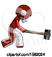 Red Football Player Man Hitting With Sledgehammer Or Smashing Something