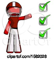 Red Football Player Man Standing By List Of Checkmarks