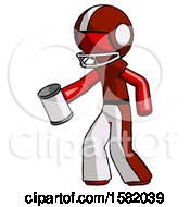 Red Football Player Man Begger Holding Can Begging Or Asking For Charity Facing Left