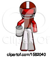 Red Football Player Man Begger Holding Can Begging Or Asking For Charity