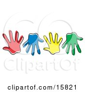 Row Of Different Colored Hand Prints Clipart Illustration