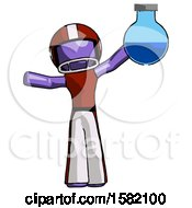Purple Football Player Man Holding Large Round Flask Or Beaker