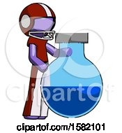 Purple Football Player Man Standing Beside Large Round Flask Or Beaker