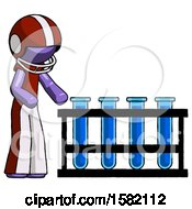 Purple Football Player Man Using Test Tubes Or Vials On Rack