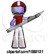 Purple Football Player Man Holding Large Scalpel