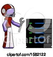 Purple Football Player Man Server Administrator Doing Repairs