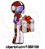 Purple Football Player Man Giving A Present