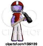 Purple Football Player Man Holding Hammer Ready To Work