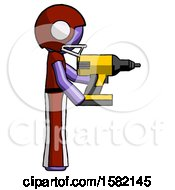 Purple Football Player Man Using Drill Drilling Something On Right Side