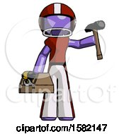 Purple Football Player Man Holding Tools And Toolchest Ready To Work