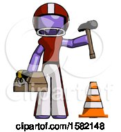 Purple Football Player Man Under Construction Concept Traffic Cone And Tools
