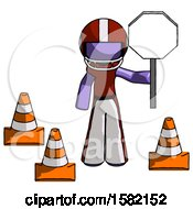 Purple Football Player Man Holding Stop Sign By Traffic Cones Under Construction Concept