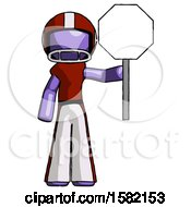 Purple Football Player Man Holding Stop Sign