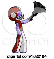 Purple Football Player Man Dusting With Feather Duster Upwards