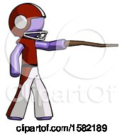 Purple Football Player Man Pointing With Hiking Stick