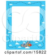 Stationery Border Of A Fast Jet Leaving Vapor Trails In A Blue Sky With Puffy White Clouds Clipart Illustration