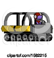 Purple Football Player Man Driving Amphibious Tracked Vehicle Side Angle View