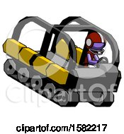 Purple Football Player Man Driving Amphibious Tracked Vehicle Top Angle View