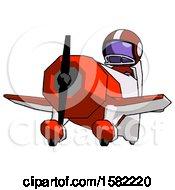 Purple Football Player Man Flying In Geebee Stunt Plane Viewed From Below