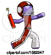 Purple Football Player Man Throwing Dynamite