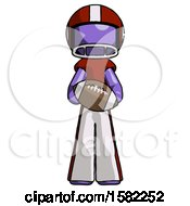 Purple Football Player Man Giving Football To You