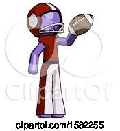 Purple Football Player Man Holding Football Up