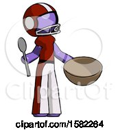 Purple Football Player Man With Empty Bowl And Spoon Ready To Make Something