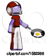 Purple Football Player Man Frying Egg In Pan Or Wok Facing Right