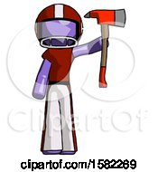 Purple Football Player Man Holding Up Red Firefighters Ax