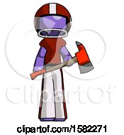 Purple Football Player Man Holding Red Fire Fighters Ax