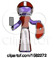 Purple Football Player Man Holding Large Steak With Butcher Knife